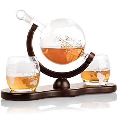 Etched Globe Whiskey Decanter Gift Set by Royal Decanters