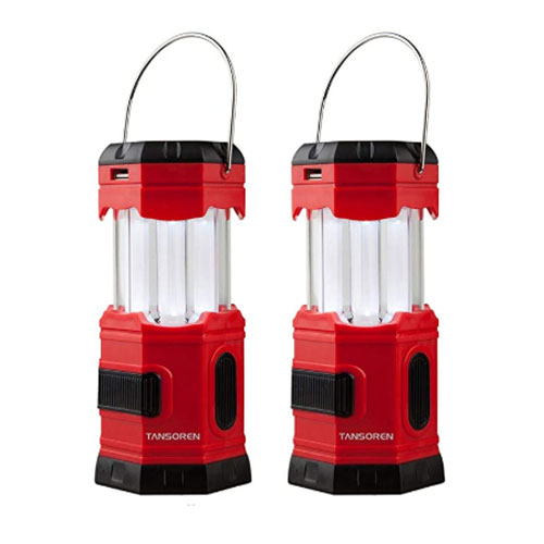 TANSOREN 2 Pack Portable LED Camping Solar Lanterns