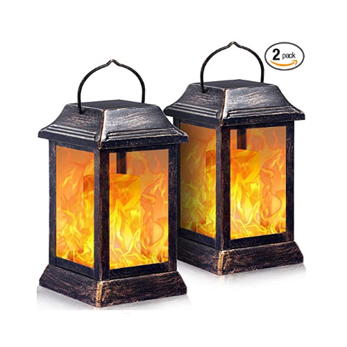 TomCare Flickering Flame Outdoor Solar Lanterns