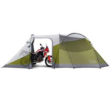 Vuz Moto 12 Foot Waterproof Motorcycle Tent with Integrated 3-Person Tent Space