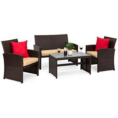 Best Choice Products 4-Piece Wicker Patio Outdoor Furniture