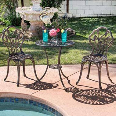 Best Choice Products Cast Aluminum Patio Bistro Furniture Set