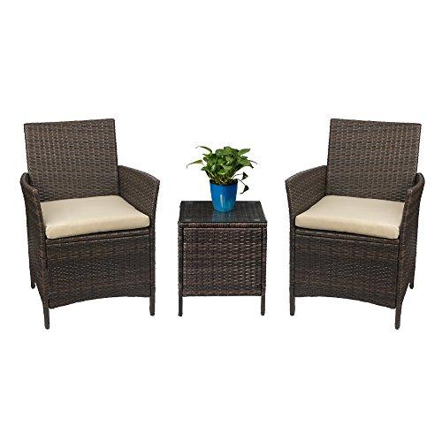 Devoko Sets 3 Pieces PE Rattan Wicker Chairs Patio Outdoor Furniture