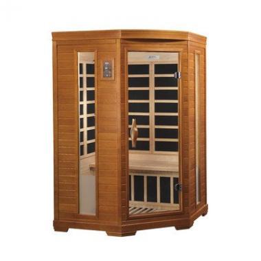 """Dynamic """"Heming"""" 2-person corner Low EMF Infrared Sauna"""