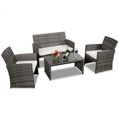 Goplus 4 PC Rattan Patio Outdoor Furniture