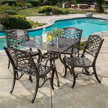 Great Deal Furniture Odena | 5-Piece Cast Aluminum Square Outdoor Dining Set