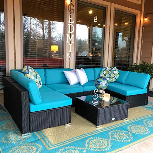 Peach Tree 7 PCs Patio Sofa Sectional Outdoor Furniture
