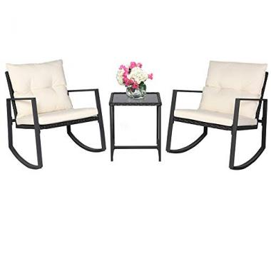 SUNCROWN Outdoor 3-Piece Rocking Bistro Set