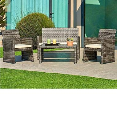 SUNCROWN Outdoor Conversation Set 4-Piece Grey Wicker Sectional Patio Furniture