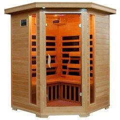 Santa Fe 3 Person Hemlock Wood Corner Unit Infrared Home Sauna