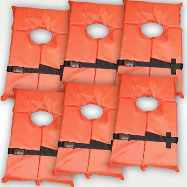 6 Pack Type II Life Jacket Vest by Hardcore Water Sports