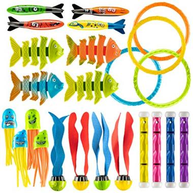 Swimming Pool Toy Set for Kids, 24 Pieces by Prextex