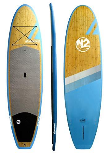 Entry Level All-Around Natural Bamboo Blue Paddle Board by North 2 Boards