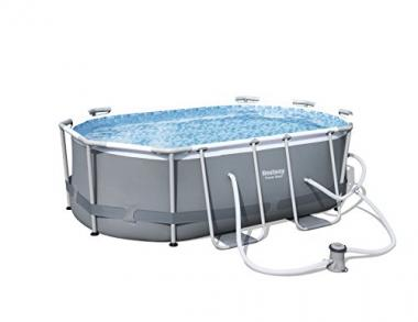 """Bestway 9'10"""" x 6'6″ x 33″ Power Steel Oval Frame Above Ground Swimming Pool"""