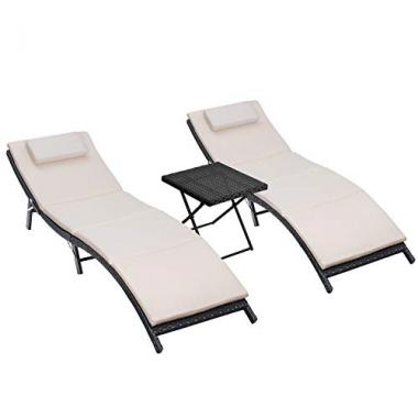 Homall 3 Piece Patio Pool Lounge Chairs