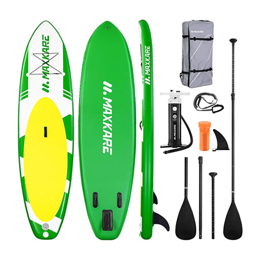 "MaxKare 10'6"" Inflatable Stand Up All Around Paddle Board"