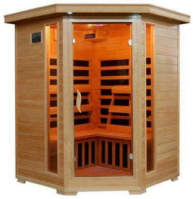3-Person Hemlock Corner Infrared Sauna by Radiant Saunas
