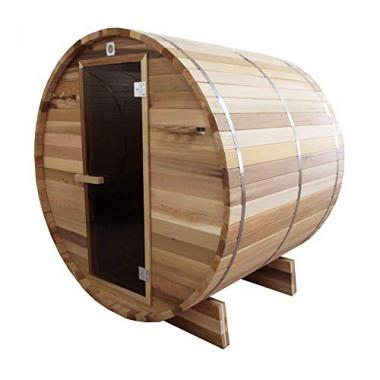 ALEKO Rustic Red Cedar Barrel Sauna