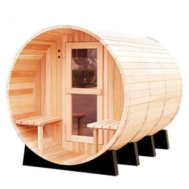 Traditional Hemlock Wooden Barrel Sauna by RGX