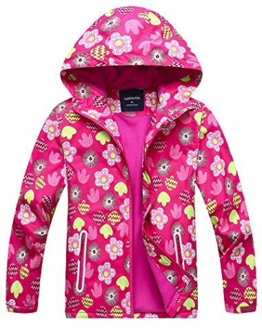 Welity Girl's Full Zip Waterproof Ski Jacket For Kids