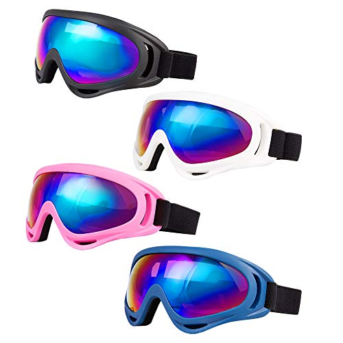 LJDJ Pack of 4 UV400 Protective Kids Ski Goggles