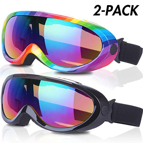 RNGEO Pack of 2 UV400 Anti-Glare Kids Ski Goggles