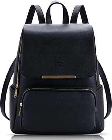 COOFIT Casual Black Leather Backpack