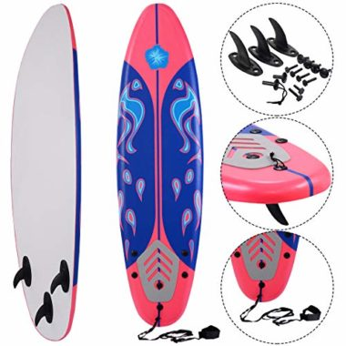 Giantex 6′ Foamie with Removable Fins Beginner Surfboard