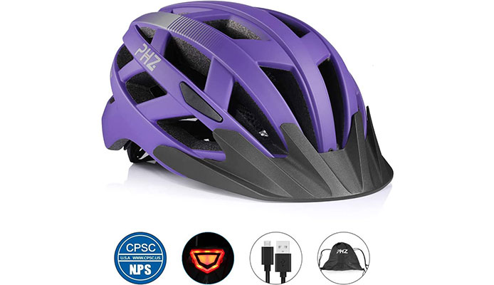 PHZ Rechargeable USB Light Women's Mountain Bike Helmet