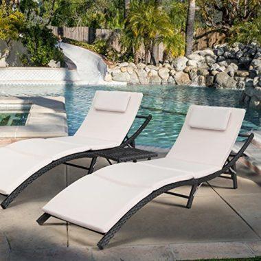 Devoko Patio Chaise Pool Lounge Chair