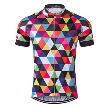 Mens Cycling Jersey Short Sleeve Bike Clothing Multicolored Diamond Size XXXL