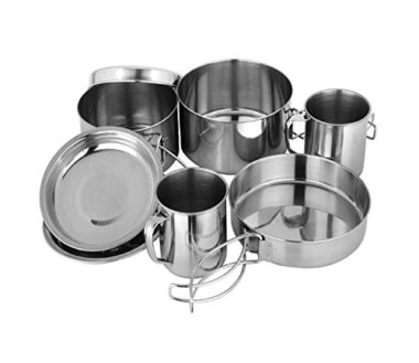 BeGrit Lightweight 8pcs Stainless Steel Camping Mess Kits