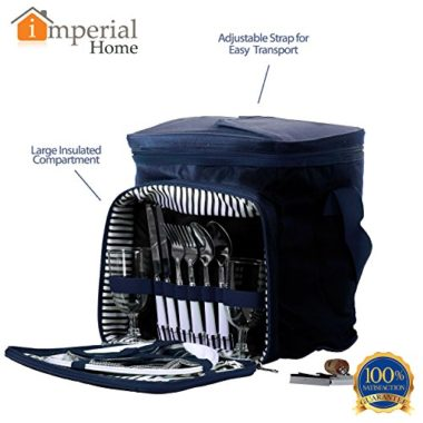 Imperial Home Blue Collapsible Insulated Picnic Basket