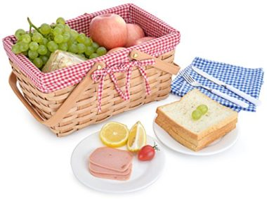 California Picnic Woven Wood Picnic Basket